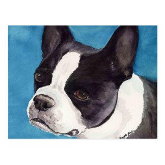 Vykort för konst för hund för Boston Terrier
