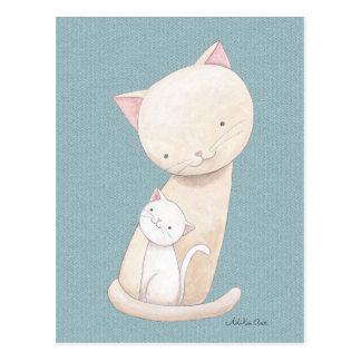 Vykort för konst för katt för mamma & för baby för