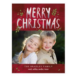 Vykort för kort för god julhelgdagfoto