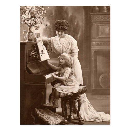 Vykort för musik för piano för vintageundervisning