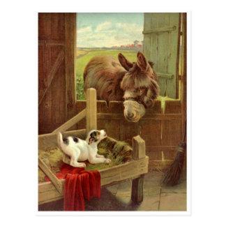 Vykort för plats för vintagehäst- och hundlantgård