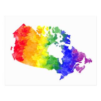 Vykort för pride för Kanada lönnlövregnbåge