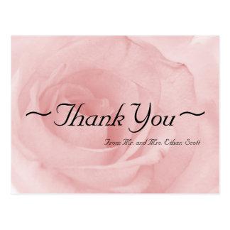 Vykort för rosa rosbrölloptack