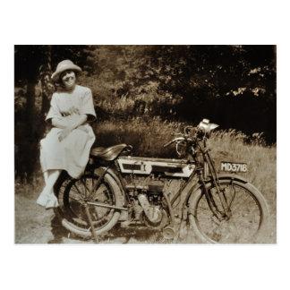 Vykort för sepia för vintagemotorcykel c1920s