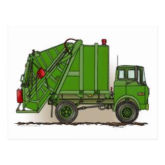 Vykort för soporlastbilgrönt