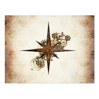 Vykort för Steampunk kompassstjärna
