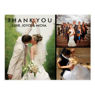 Vykort för tack för bröllopfotoCollage