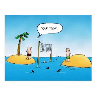 Vykort för tecknad för hajvolleyboll rolig