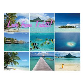 Vykort för text för franska Polynesia collage rosa