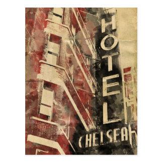 Vykort för vattenfärg för Chelsea hotellvintage