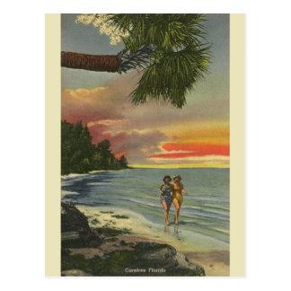 Vykort för vintageFlorida solnedgång