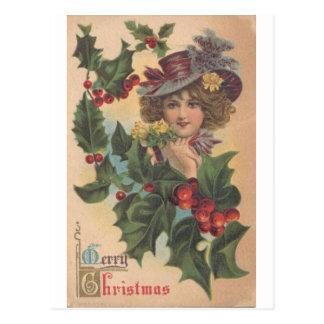 Vykort för vintagegod julGibson flicka