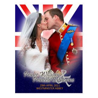 Vykort för William & Kate kunglig bröllopkyss