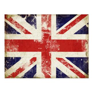 Vykort med den bekymrade Storbritannien flagga