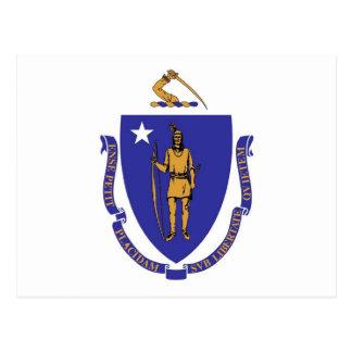 Vykort med den statliga flagga av Massachusetts -
