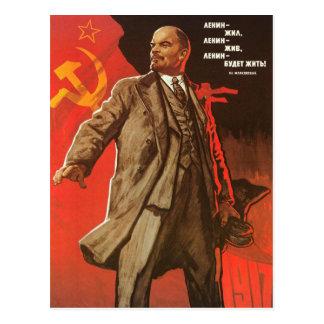 Vykort med det Retro Lenin affischtrycket