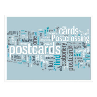 """Vykort """"Postcrossing blått """","""