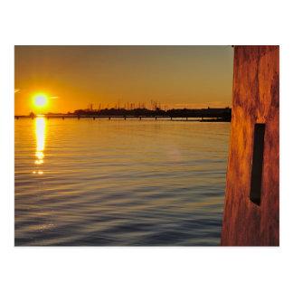 Vykort: Solnedgång och watermill. Algarve Portugal Vykort