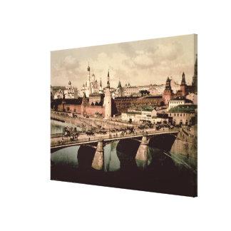 Vykort som visar Kremlinen, Moscow Canvastryck