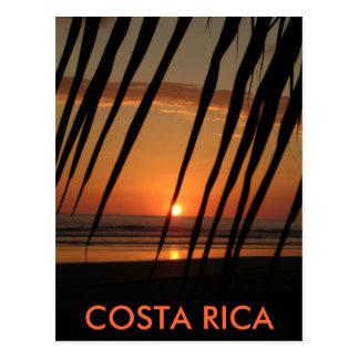 Vykorthandflatansolnedgång, COSTA RICA Vykort