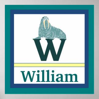 W är för för väggkonst för valross och för pojke k affisch