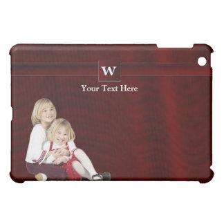 W - Mall för Burgundy Monogramfoto för iPad Mini Mobil Skydd
