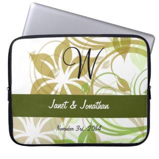 W-Monogram med en abstrakt blom- laptop sleeve Laptopskydd Fodral
