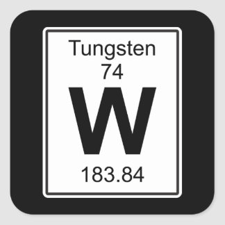 W - Tungsten Fyrkantigt Klistermärke