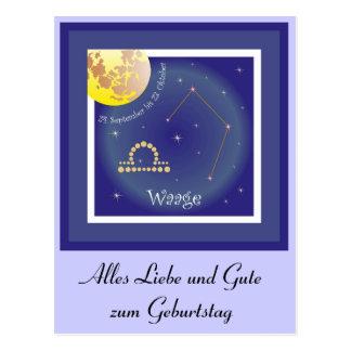 Waage 24. September bis 23. Oktober Postkarte Vykort