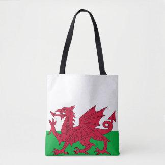 Wales visar den walesiska röda draken långt tygkasse