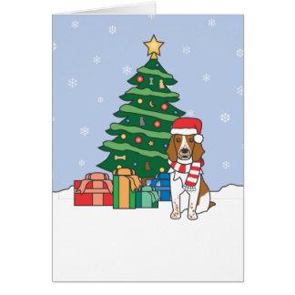 Walesisk SpringerSpaniel och julgran Kort