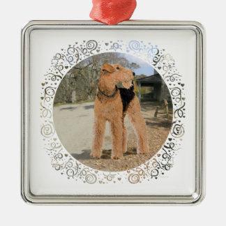 Walesisk Terrier i den stabila gården Julgransprydnad Metall