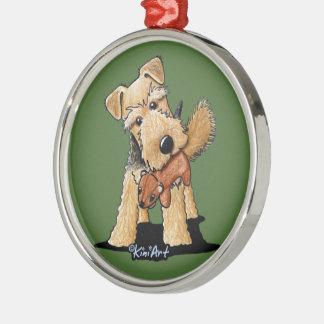Walesisk Terrier med leksakekorren Julgransprydnad Metall