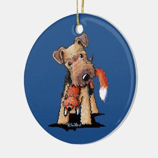 Walesisk Terrier med leksakräven Julgransprydnad Keramik