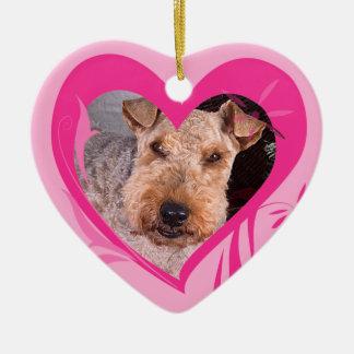 Walesisk Terriervalentin prydnad för hjärta Julgransprydnad Keramik