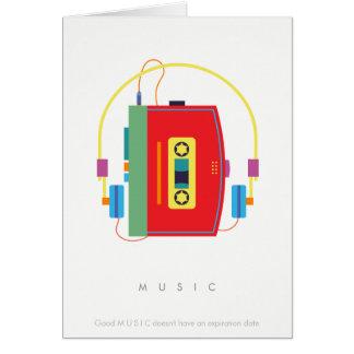 Walkmankassettspelare, retro musikkort hälsningskort