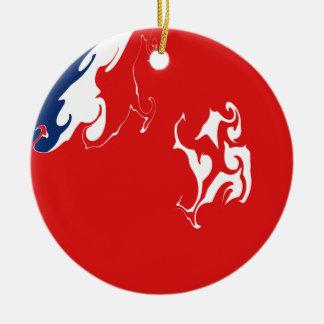 Wallis och Futuna Gnarly flagga Rund Julgransprydnad I Keramik