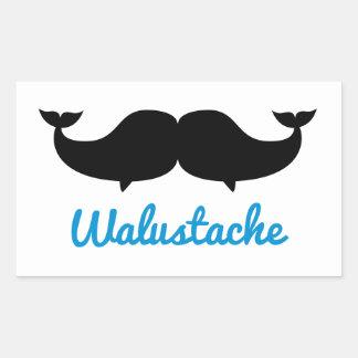 Walustache Whalestache Moustache Rektangulärt Klistermärke