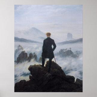 Wanderer ovanför havet av dimma posters
