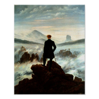 Wanderer ovanför havet av dimma - Friedrich Poster