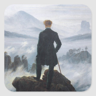 Wandereren ovanför havet av dimma av Caspar David Fyrkantigt Klistermärke