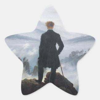 Wandereren ovanför havet av dimma av Caspar David Stjärnformat Klistermärke