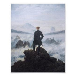 Wandereren ovanför havet av dimma fototryck