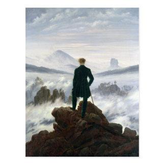 Wandereren ovanför havet av dimma vykort