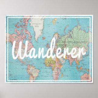 Wanderertypografi på vintagevärldskarta poster