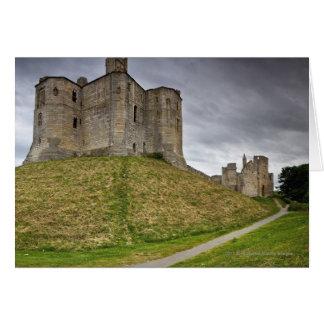 Warkworth slott i Northumberland, England Hälsningskort
