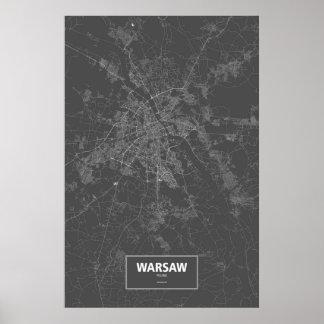 Warsaw Polen (vit på svart) Poster