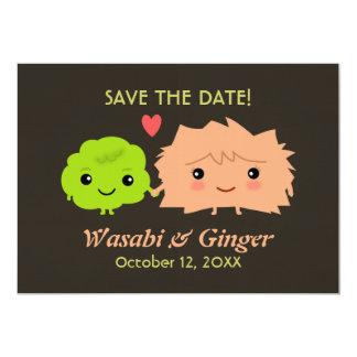 Wasabi och ljust rödbrun bröllop spara datum 12,7 x 17,8 cm inbjudningskort