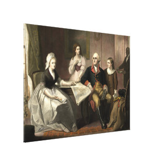 Washington & hans familjMezzotint av C. Schussele Canvastryck