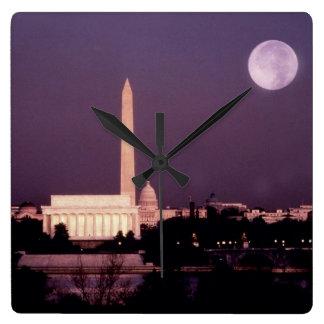 Washington monument, huvudstaden och Jefferson Fyrkantig Klocka